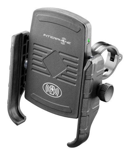 Univerzální držák na mobilní telefony Interphone Motocrab s bezdrátovým nabíjením, černý